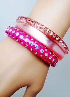 VINTAGE Moonglow Plastic Lucite AB Crystals Pink Bangle Bracelet Cuff Retro Mod #none #Bangle