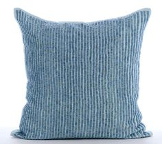 Calm Blue - 16x16 Inches blue beads embroidered Blue Linen Throw Pillow.