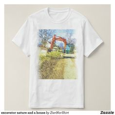 excavator nature and a house T-Shirt Types Of T Shirts, Cool T Shirts, T Shirt Photo, Artwork Design, Shirt Style, Fitness Models, Casual, Mens Tops, How To Wear