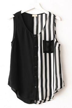 Striped Sleeveless Chiffon Shirt OASAP.com