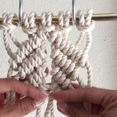 How to Make a Diamond Mesh // This video shows you how to Tie Diamond Mesh using Clove Hitch Knots. It is decorative and used in Macrame wall hangings and Jewelry. // This video shows 5 cords at 5 feet each. Since folded in half there is now 10 cords, 1-10 from left to right. For the sake of time, I tied one side of Diagonal Clove Hitch Knots using cords 1-5, which I'll explain how to do below. Remember, you re-number the cords after each row is complete. // For the left side, using cord 5…
