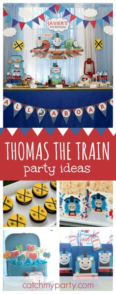All aboard this fun Thomas the Train birthday party! The birthday cake is amazing!! See more party ideas and share yours at CatchMyParty.com