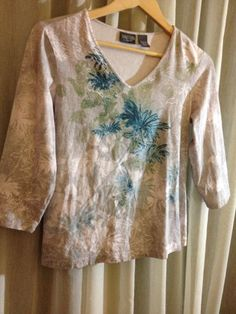 "Chico's CHICO BOTANICAL SPRING FLOWER PRINT Multi 0 2 3 BLOUSE Bust 38""  size 2 #Chicos #Blouse"