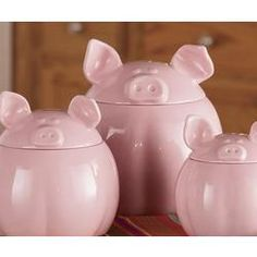 Pink Pig Canister Set #pigs $29.95 Omg Sarah, I know you would love these!! Lol