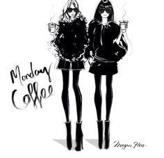 Megan Hess illustration - Monday Coffee
