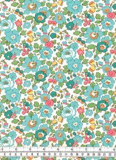 Liberty Tana Lawn Betsy Turquoise Fabric