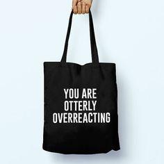 Otterly Overreacting Animal Illustration Drawing Cotton Shopper Model Tote Canvas Bag Shopping Gym Books Tumblr Funny Joke Boy Girl Sack Cot