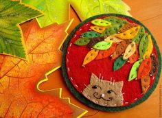 """Броши ручной работы. Ярмарка Мастеров - ручная работа. Купить Брошь """"Осенняя смешинка"""". Handmade. Рыжий кот, осенние краски"""