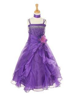 purple flower girl dresses size 6-8 | eBay