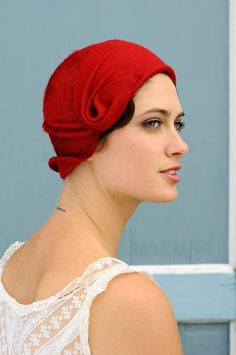 Rag Time  red cloche  made to order by yellowfield7 on Etsy, $400.00