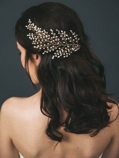 Gold Bridal Headpiece Pearl Bridal Hair Comb by DavieandChiyo