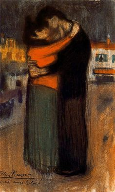 Les Amants de la rue - Pablo Picasso 1900 Post-Impressionism: Early Years Technique: pastel Material: paper .