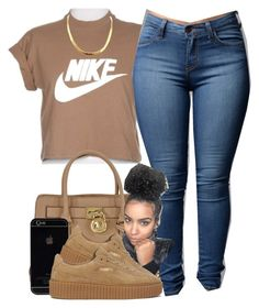 """YouTube: @Lightscamerasylvie"" by trillest-fashion on Polyvore featuring NIKE, Michael Kors and Puma"