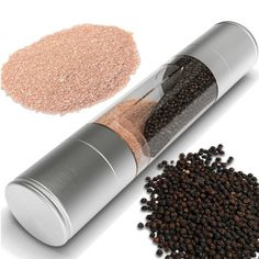 Stainless Steel Pepper and Salt Grinder In one- Freshen Up Your Spice Presentation With The Authentic Feel Of This Stainless Steel Grinder. With A Few Twists Of The Top, It Grinds Salt, Pepper Or Any Dry Spice