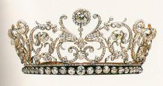 Princess Abamalek Lazarev's Diamond Tiara, Georgia (1907; made by Boucheron; yellow diamonds, diamonds). Sometime later, Princess Paul of Yugoslavia added the diamond rivière along the bottom.