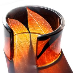 Art Jewelry Perspex cuff is made using the actual fern leaves