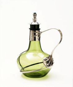 Decanter904-1905 Glass, with silver mounts and a chrysoprase set in the finial