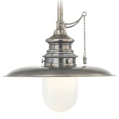 Pendant Light with White Glass in Historic Nickel Finish | 8815-HN | Destination Lighting