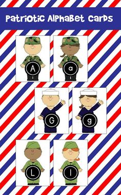 ABC Cards for Veterans Day! ABC Cards for Veterans Day! Great for teaching preschoolers letter recognition, matching, and ordering. Preschool Writing, Preschool Learning, In Kindergarten, Preschool Activities, Preschool Letters, Preschool Classroom, Teaching, Remembrance Day Activities, Veterans Day Activities