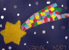 Shooting star idea. Sponge paint star, mosaic squares, white dots and stickers for stars