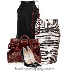 """Black & White Pencil Skirt"" by uniqueimage on Polyvore"
