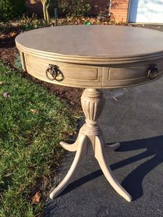 Before and After Drum Table using Amy Howard Kembel chalk paint.