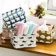 5 COLOR Cotton Blend Linen Collapsible Storage Bin Basket Laundry Box With Totes Case