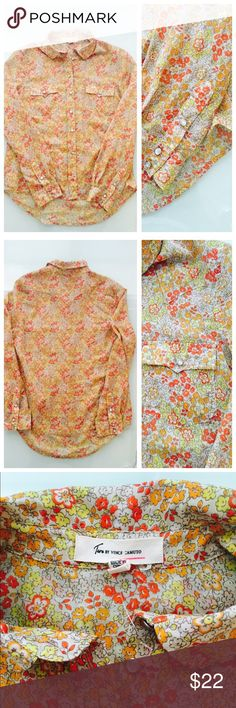 NWOT Vince Camuto long sleeve lightweight Floral NWOT Vince Camuto long sleeve lightweight Floral snap up Blouse. Western style shirt with snap front pockets and snap up front closures. Silver Embellished collar ends for just the right touch of classic western style but done over in a Floral print. Size xs. New without tags and measures 19 inches from underarm to underarm and 26 inches long. Vince Camuto Tops