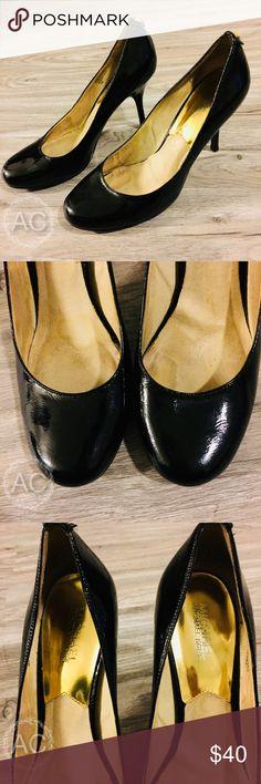 Black Michael Kors Heels Round toe black patent leather heels from Michael Kors Michael Kors Shoes Heels