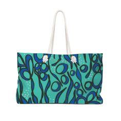 JESSICA HIGGINS JONES ART BLUE SEAWEED TOTE BAG