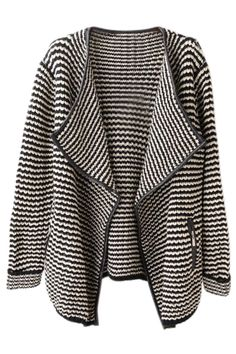 Wave Striped Contrast Trimming Black Cardigan