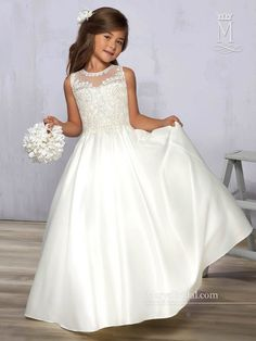 d5aecf8ce3fe Satin Flower Girl Dress with Lace Bodice by Mary's Bridal Cupids F576