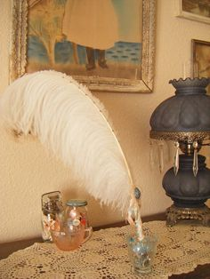 Ostrich Feather Pen-Shabby Chic-Tattered Cream/Blue/Pink PREMIUM COLLECTION