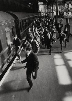The Beatles running away from their adoring fans. They were loved then, and still loved as much now