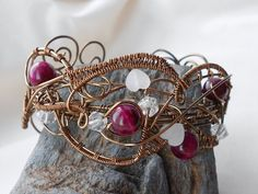 Antique Bronze Wire wrapped Gemstone Cuff