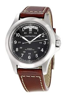 Hamilton Mens Khaki King Series Stainless Steel Automatic Watch with Brown Leather Band *** Find out more about the great product at the image link. Hamilton Khaki King, Hamilton Khaki Field Automatic, Cool Watches, Watches For Men, Wrist Watches, Men's Watches, Field Watches, Casual Watches, Fashion Watches
