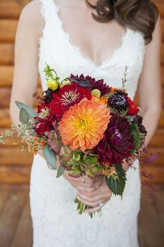 fall wedding bouquet-red and orange dahlia bridal bouquet - Deer Pearl Flowers