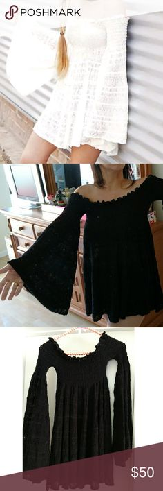 Free People Off the Shoulder Bell Sleeves Mini XS Midnight Seductress. NWOT. Black. XS.   This one is very tempting to keep for my own but I can't fit another item in my closet lol.   Super rare gem, comfy, sexy and meeeeow!!!   Blessed with a cold shoulder neck line, it actually stays put too... Doesn't rise up.   Wear as top, swim cover or mini dress.  Though it's a x-small, it's of a super soft stretchy material with room to give. Fits me perfect and I'm usually a large.   Good luck…