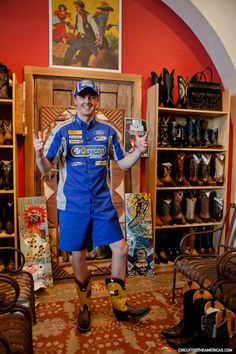 """Mark """"Frosty"""" Winterbottom, V8 Supercars Driver, shopping for cowboy boots in Austin in the lead-up to the first V8 Supercars race in the US."""