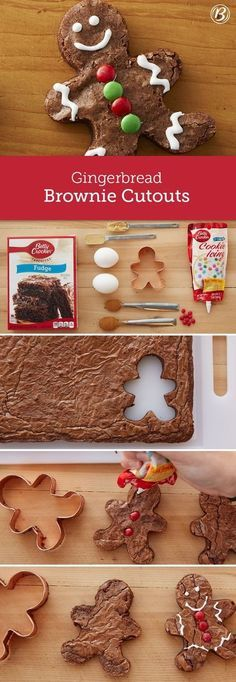 Cute and playful, these gingerbread-spiced brownie cutouts are an easy holiday project for the kids to help with! You can use traditional gingerbread people cookie cutters to shape the brownies and then get creative with decorations. Use extra brownie pie Xmas Food, Christmas Sweets, Christmas Cooking, Noel Christmas, Christmas Goodies, Holiday Desserts, Christmas Candy, Holiday Baking, Holiday Treats