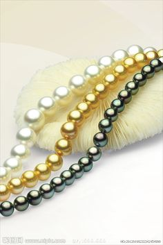 White South Sea, Golden South Sea, and Black Tahitian pearl strands