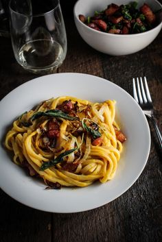 Butternut Squash Carbonara with Caramelized Onions  & Fried Sage