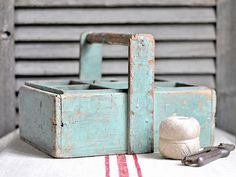 English Mustard Profit Small Vintage Antiqued Wooden Chest Trug Antiques
