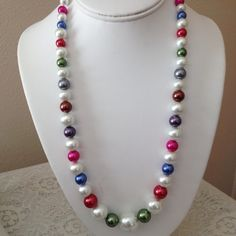 Colorful Pearl Necklace by karlajophoto on Etsy, $35.00