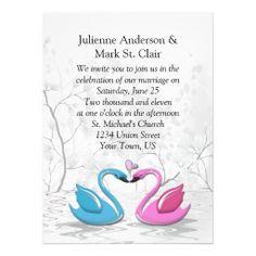 Pink Blue Kissing Swans Wedding Invitation #swans #weddings #whimsical