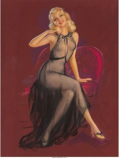 Jules Erbit (American, 1889-1968). Seated Pin-Up in Purple Chair. | Lot #71076 | Heritage Auctions