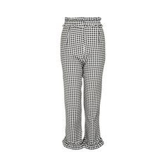 TopShop Gingham Frill Trousers ($85) ❤ liked on Polyvore featuring pants, monochrome, highwaist pants, high rise trousers, high rise pants, gingham pants and ruffle pants