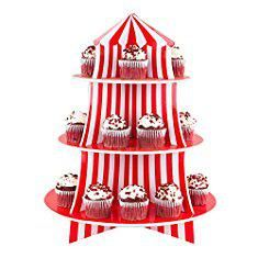 Circus Cupcake Stand. 3 Tier Cupcake Foam Stand with Circus Carnival Tent Design for Desserts, Birthdays, Decorations.  #circus #cupcake #stand #circuscupcake #cupcakestand