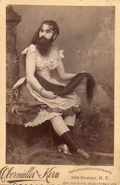 Bearded lady, ca. 1880   I like to frame pictures like this & scatter throughout the party location. Little touches make a big difference.