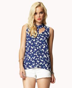 Daisy Print Cutout Shirt | FOREVER21 - 2027927777